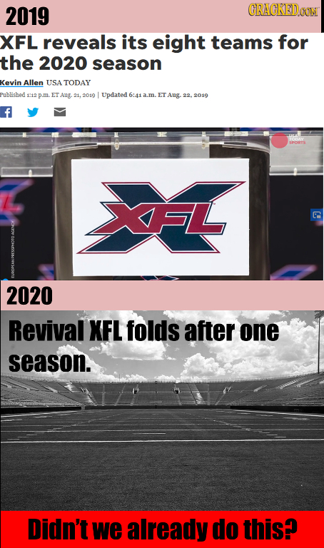 2019 CRACKEDC XFL reveals its eight teams for the 2020 season Kevin Allen USA TODAY Published: 112 m. ET Ang 21, 2010 Updated 6:41 .m. ET Aug 22. 2019