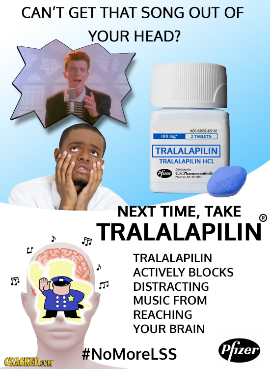 CAN'T GET THAT SONG OUT OF YOUR HEAD? NDC 63539-4 100 mg' 2TABLETS TRALALAPILIN TRALALAPILIN HCL Pfirer U.S Pharmaeeutiealo NEXT TIME, TAKE R TRALALAP