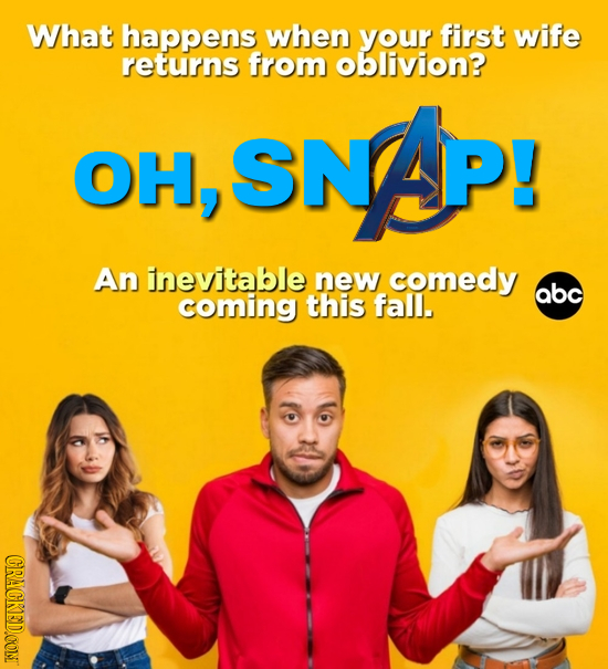 What happens when your first wife returns from oblivion? SNAP! OH, An inevitable new comedy abc coming this fall. CRACKED.CONT