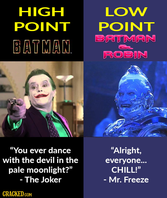 HIGGH LOW POINT POINT BATIMAN BATMAN ROBDN 00 You ever dance Alright, with the devil in the everyone... pale moonlight? CHILL! - The Joker - Mr. F