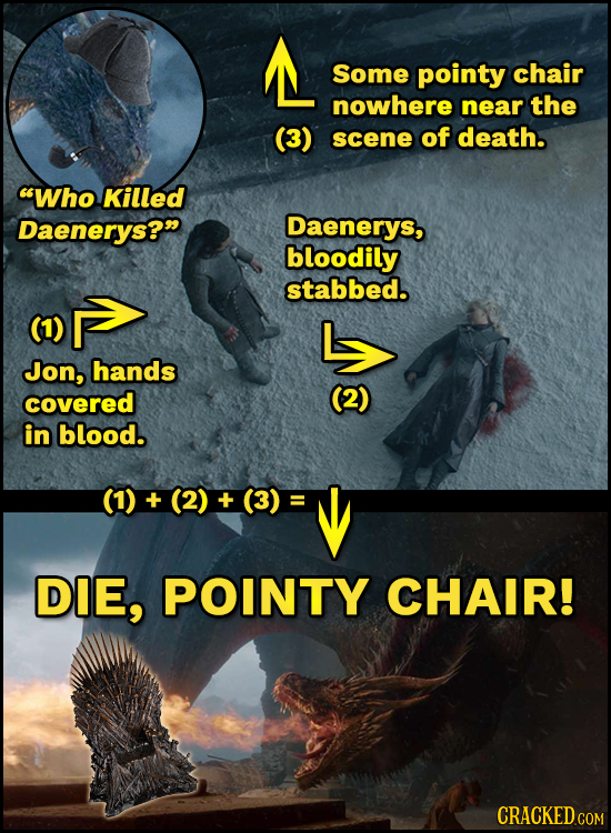 L Some pointy chair nowhere near the (3) scene of death. Who Killed Daenerys? Daenerys, bloodily stabbed. Jon, hands covered (2) in blood. (1) + (2)