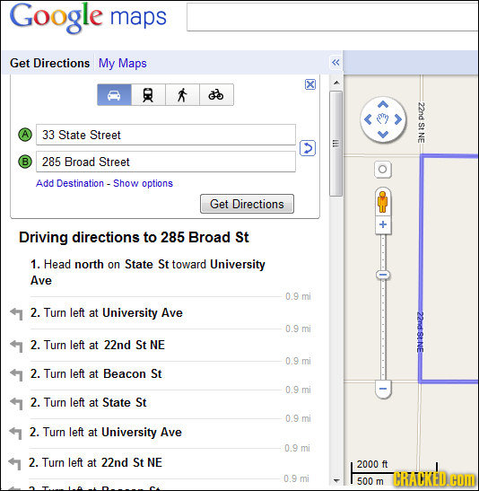 Google maps Get Directions My Maps Q 22nd St 33 State Street NE > lll B 285 Broad Street Add Destination - -Show options Get Directions Driving direct