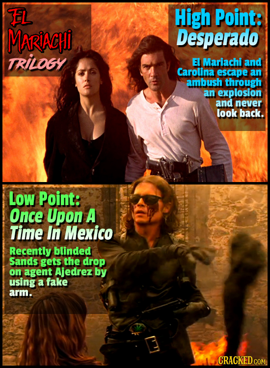 EL High Point: MARIACHi Desperado TRILOGY EI Mariachi and Carolina escape an ambush through an explosion and never look back. Low Point: Once Upon A T