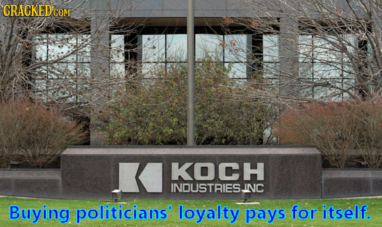 CRACKED'o COM KOCH INDUSTRIESINC Buying politicians loyalty pays for itself.