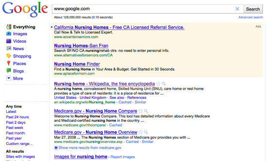 Google www.google.com Search Abouet 129 (O. 10 seconds' Avarced searot Everything Califomia Nursing Homes Free CA Licensed Referral Service. Ads Image