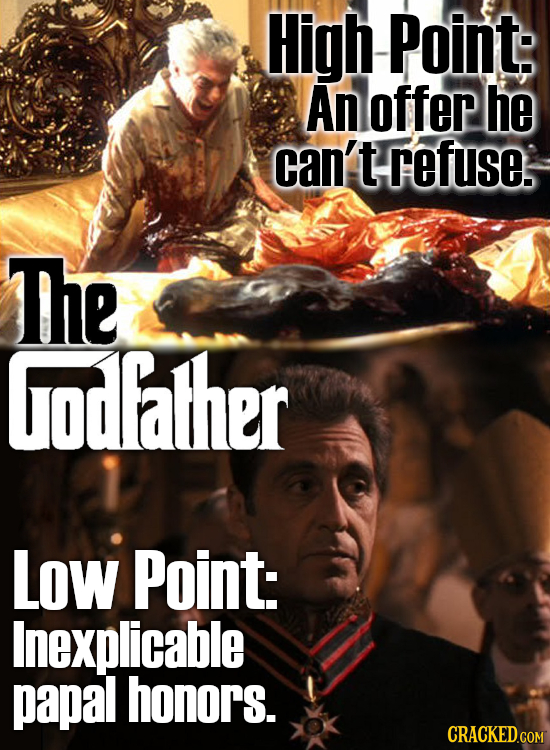 High -Point: An offep he can't refuse. The odfather Low Point: Inexplicable papal honors.