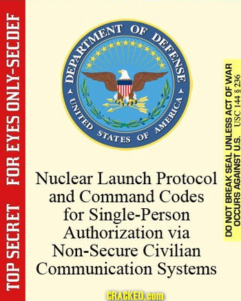 OF DEFENSE DPARRENT WAR 8236 OF ONLY-SECDEF 144 ACT STATES USC Hino OF EYES UNLESS U.S. Nuclear Launch Protocol SEAL F and Command Codes AGAINST for S