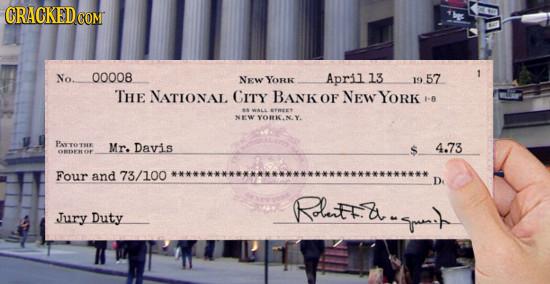 GRACKEDCO CoM No. 00008 NEW YORk April 13 1 19 57 THE NATIONAL CITY BANKOF NEW YORK I-B WALL STREET THR Mr. Davis $ 4.73 NO Four and 73/100 D Rdtta. R