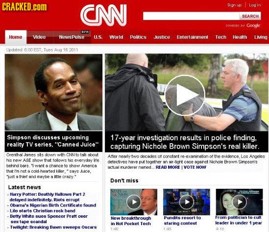 CRACKED.cOM CNN Sian ud Log SEARCH poCOCD u Googke DrTe Home Viden NewsPulse U.S. World Politics Justice Entertainment Tech Health Living Updated 6:00
