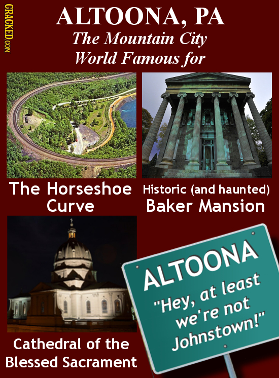 ALTOONA, PA The Mountain City World Famous for The Horseshoe Historic (and haunted) Curve Baker Mansion ALTOONA least at Hey, not we're Cathedral of