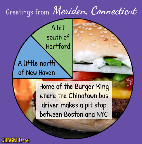 Greetings from Meriden, Connecticut A bit south of Hartford A little north of New Haven Home of the Burger King where the Chinatown bus driver makes a