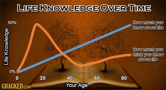 LIFE KNOWLEDGE OVER TIME 80% How much you know about life How much you think you know Knowledge about life Life 0% O 20 40 60 80 CRACKED.COM Your Age