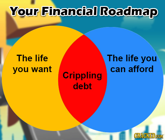 Your Financial Roadmap The life The life you you want can afford Crippling debt GRACKEDCON