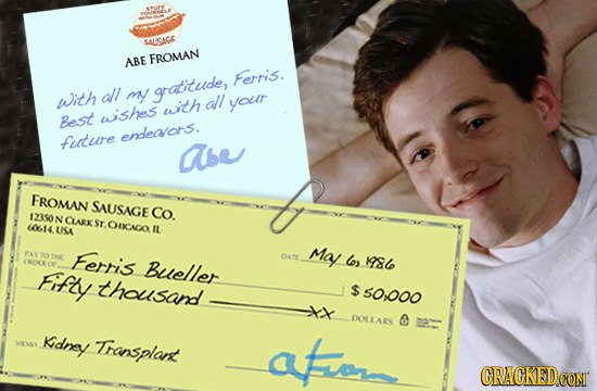 SAUSAGE ABE FROMAN Ferris. with all m gratitude, all with YOutr wiishes Best endteaors. futuire abe FROMAN SAUSAGE co. 123S0N N CLARX 10614 ST. CHIAGA