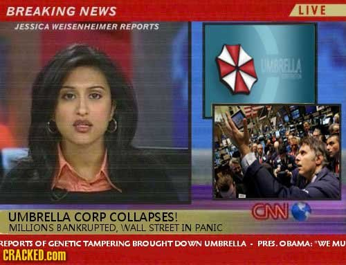 BREAKING NEWS LIVE JESSICA WEISENHEIMER REPORTS UMBRELLA CN UMBRELLA CORP COLLAPSES! MILLIONS BANKRUPTED. WALL STREET IN PANIC REPORTS OF GENFTIC TAMP