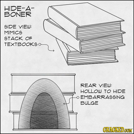 HIDE-A- BONER SIDE VIEW: MIMICS STACK OF TEXTBOOKSO REAR VIEW: HOLLOW TO HIDE EMBARRASSING BULGE CRACKEDCON