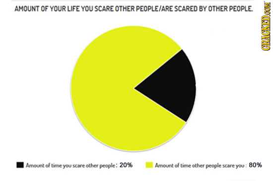 AMOUNT OF YOUR LIFE YOU SCARE OTHER PEOPLE/ARE SCARED BY OTHER PEOPLE CRUN Amount of time 20% you scare other people: Amount of time other people scar