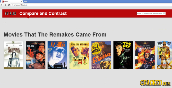 mnonesetffvermn NETFLIX Compare and Contrast t Movies That The Remakes Came From VNSUING The EOE CLIRE noil euD FIY LAIECAAN M EATH Paul AL STOMISUILL