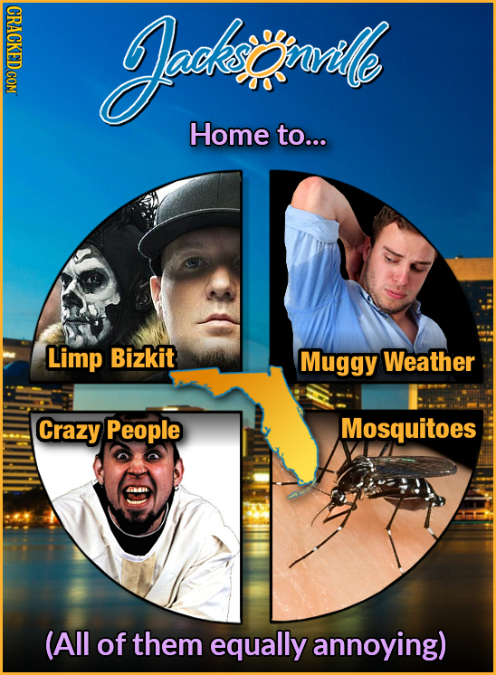 CRACKED COM Jodhia ornrihle Home to... Limp Bizkit Muggy Weather Crazy People Mosquitoes (All of them equally annoying)