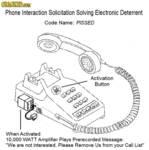 CRACKED Phone Interaction Solicitation Solving Electronic Deterrent Code Name: PISSED Activation Button CLD 1X CTXDODID When Activated 10.000 WATT Amp
