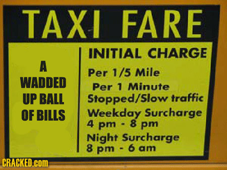 TAXI FARE INITIAL CHARGE A Per 1/5 Mile WADDED Per 1 Minute UP BALL Stopped/slow traffic OF BILLS Weekday Surcharge 4 pm -8 8 pm Night Surcharge 8 pm