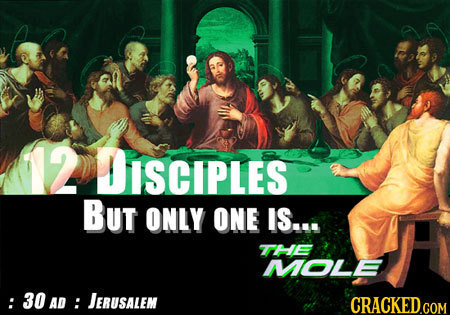 12 DiSCIPLES BUt ONLY ONE IS... TTHE MOLE : : 30 AD: JERUSALEM