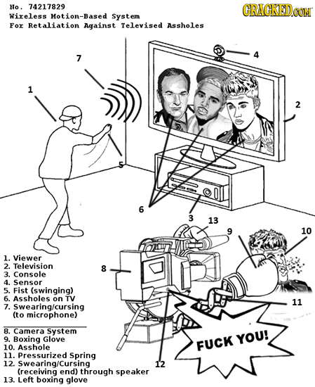 No. 74217829 CRACKEDCON Wireless Motion-Based System For Retaliation Against Televised Assholes 4 7 1 2 6 3 13 10 1. Viewer 2. Television 8 3. Console