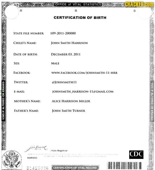 OFFICE ot VITAL STATISTICS TRACKED C CERTIFICATION OF BIRTH STATE FILE NUMBER: 09-2011-200000 CHILD'S NAME: JOHN SMITH HARRISON DATE OF BIRTH: DECEMBE