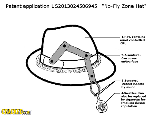 Patent application US2013024586945 No-Fly Zone Hat 1.Hat. Contains mind-controlled CPU A 2. Ara ture. Can cover entire face 3.Sensors. Detectinsects