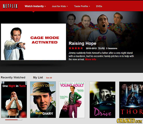 NETFLIX Watch Instantly-. Just for kids Taste Profile DVDS CAGE MODE ACTIVATED Raising Hope 2010-2012 TV-PG 3Seasons Jimmy suddenly finds himself a fa
