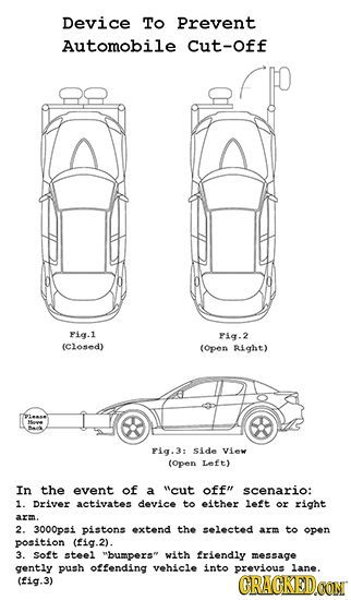 Device To Prevent Automobile Cut-off Fid.1 Pig.2 (closed) (open Right) Fig.3: side View (Open Left) In the event of a cut off scenario: 1. Driver ac