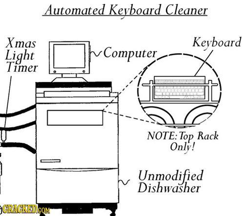 Automated Keyboard Cleaner Xmas Keyboard Light Computer. Timer NOTE: Top Rack Only! Unmodified Dishwasher