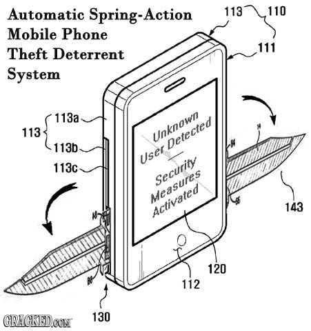 Automatic Spring-Action 113 110 Mobile Phone Theft 111 Deterrent System 113a 113 Unknown 113b Detected User 113c Security Measures 143 Activated 120 1
