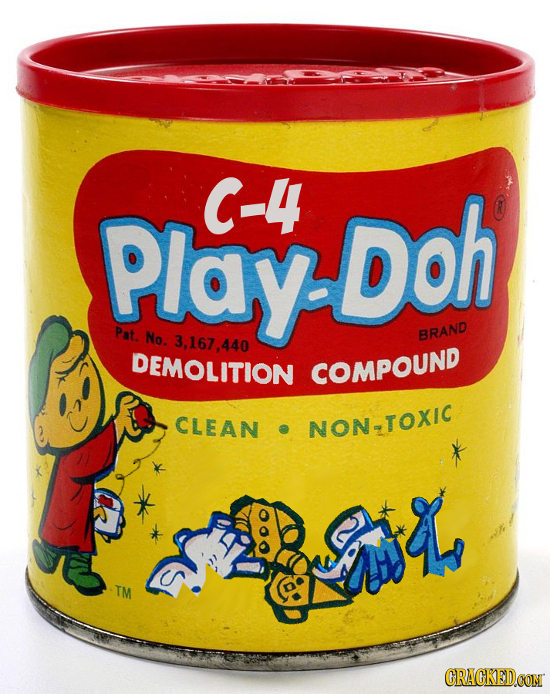 Play Doh C-4 Pat. No. 3,167,.440 BRAND DEMOLITION COMPOUND CLEAN NON-TOXIC S CRACKEDCON