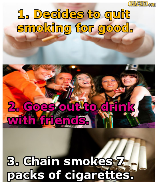 GRAGKEDOON 1. Decides to quit smoking for good. 2. Goes out to drink with friends. 3,. chain smokes Z packs of cigarettes.