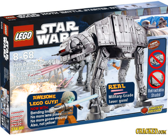 -STAR CEGO WARS NEW 8-68 Kit Hoth Battle Starter Walkers 3 ATAT D Snowtroopers: Rebel Soldieis 40 Exploding Structures REAL ce Retractable Studst AWES