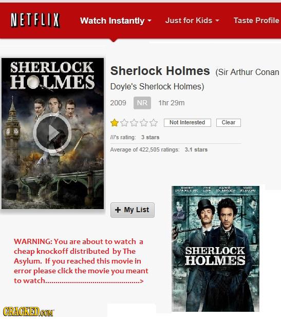 NETFLIX Watch Instantly Just for Kids Taste Profile SHERLOCK Sherlock Holmes (Sir Arthur Conan HOLMES Doyle's Sherlock Holmes) 2009 NR 1hr 29m Not Int