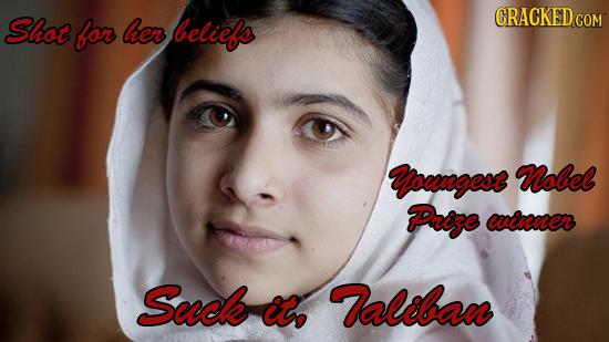 CRACKED Shot for her beliefs COM Yowngesr Nobel Proge wvcuner Suck it, Valiban