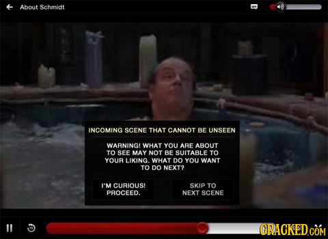 About Schmidt INCOMING SCENE THAT CANNOT BE UNSEEN WARNINGL WHAT YOU ARE ABOUT TO SEE MAY NOT BE SUITABLE TO YOUR LIKING. WHAT DO YOU WANT TO DO NEXT?