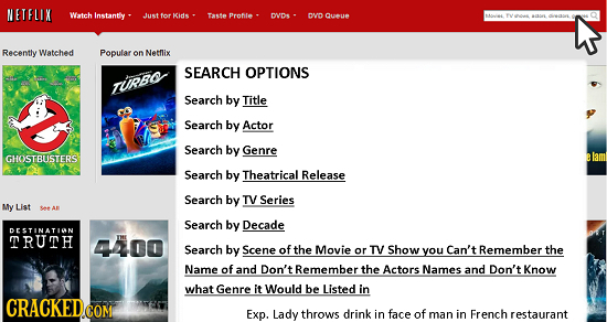 NETFLIX Witeh Instantly JJust tor Kids Taste Protle DODe DND Qutue Recently Watched Popular on Netflix SEARCH OPTIONS TupPso Search by Title Search by