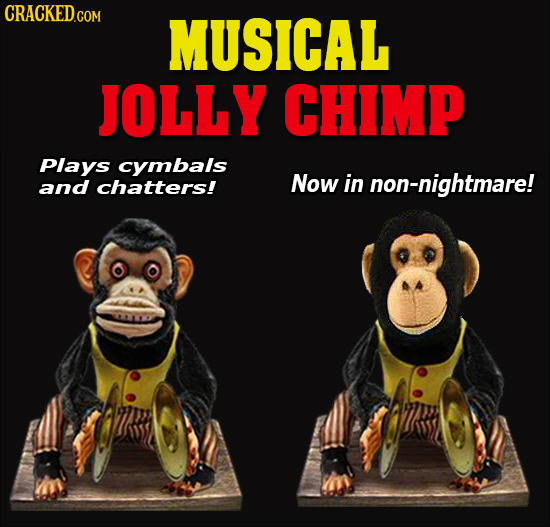 CRACKED.CON MUSICAL JOLLY CHIMP Plays cymbals and chatters! Now in non-nightmare!
