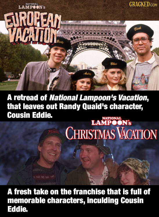 NATIONAL CRACKEDcO LAMPOON'S EUROPEAN VACATON lah Rusey Bllen Meyw A retread of National Lampoon's Vacation, that leaves out Randy Quaid's character,