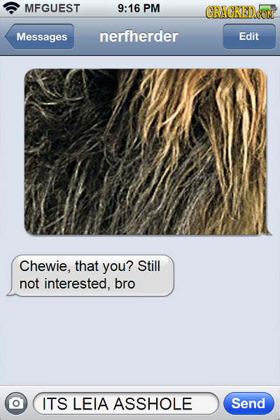 MFGUEST 9:16 PM Messages nerfherder Edit Chewie, that you? Still not interested, bro O ITS LEIA ASSHOLE Send