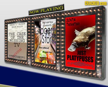 CRACKED.coM PLAYING NOW OUNTIN Michoel Bay SANLIE La JACYSOON TARANTINO presents aROC& KILLIS Giocery THE CASE OF THE Store MISSING TV Shia LeBeouf Me