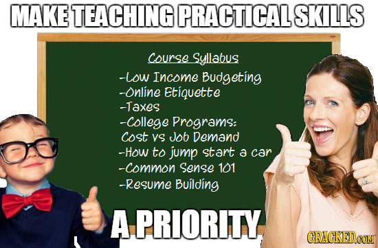 MAKE TEACHING PRACTICAL SKILLS course Syllabus -Low Income Budgeting -Online Etiquette -Taxes -college Programs: cost YS Job Demand -HoW to jump start
