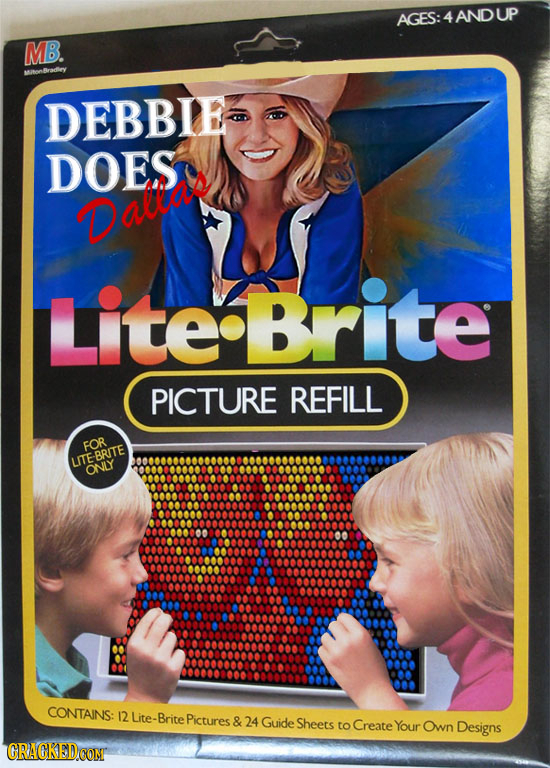 AGES:4ANDUP MB DEBBIE DOES Daltad Lite Brite PICTURE REFILL FOR LITEBRITE ONLY CONTAINS: 12 Lite- Brite Pictures & 24 Guide Sheets to Create Your Own