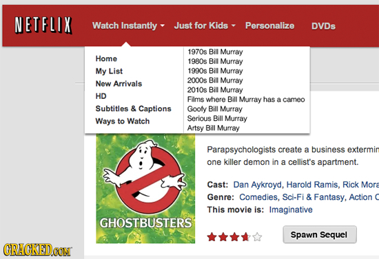 NETFLIX Watch Instantly Just for Kids Personalize DVDs 1970s Bill Murray Home 1980s Bill Murray My List 1990s Bill Murray 2000s Bill Murray New Arriva