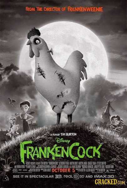 FROM THE DIRECTOR OF FRANKENWEENIE fh AFILM BY TIM BURTON FRANKENCOCK Disney RANKEN OCTOBER 5 SEE IT IN SPECTACULAR 3D. reald 3D AND IMVAX3D