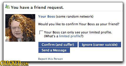 1 You have a friend request. Your Boss (some random network) Would you like to confirm Your Boss as your friend? Your Boss can only see your limited p