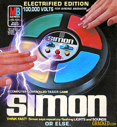 ELECTRIFIED EDITION MB 000 VOLTS FOR WRONG ANSWERS LUCIROCS WNA BLYON DAAOLEY AE Simon simon COMPUTER CONTROLLED TASEB GAME THINK FAST! Simon says rep
